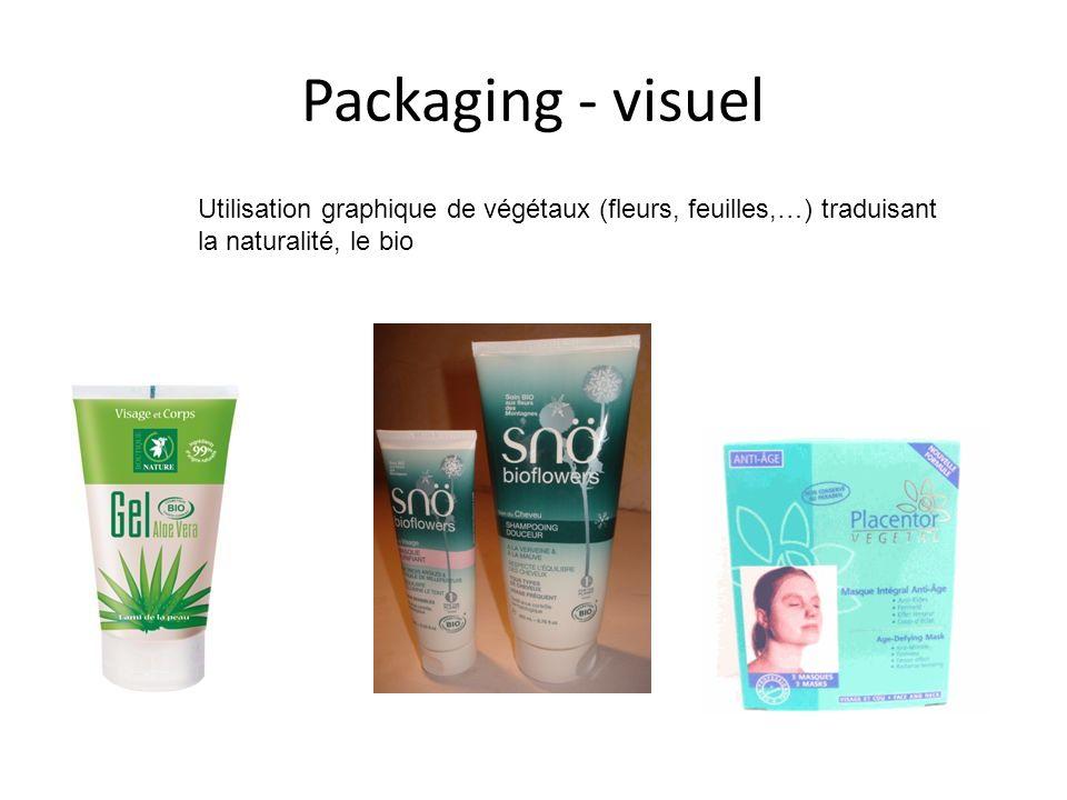 Packaging - visuel Utilisation graphique de végétaux (fleurs, feuilles,…) traduisant la naturalité, le bio.