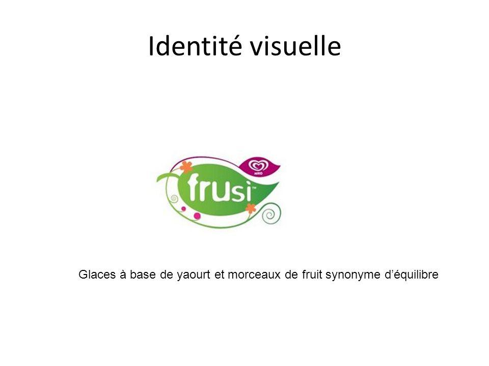 Identité visuelle Glaces à base de yaourt et morceaux de fruit synonyme d'équilibre