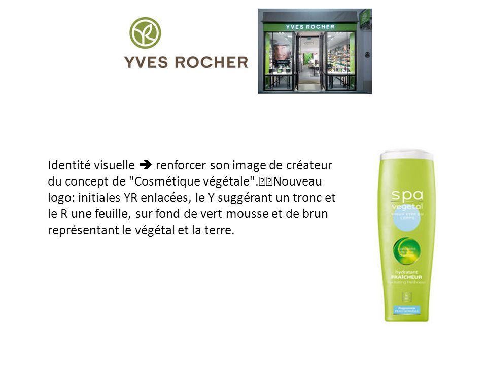 Identité visuelle  renforcer son image de créateur du concept de Cosmétique végétale . Nouveau logo: initiales YR enlacées, le Y suggérant un tronc et le R une feuille, sur fond de vert mousse et de brun représentant le végétal et la terre.