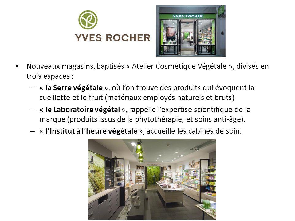 Nouveaux magasins, baptisés « Atelier Cosmétique Végétale », divisés en trois espaces :