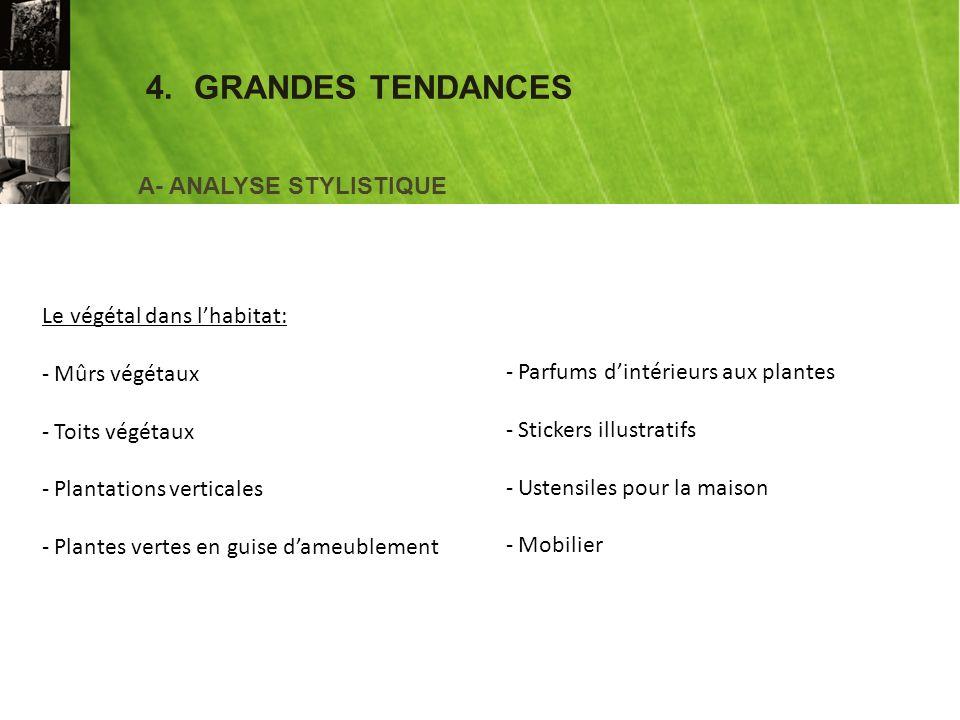 4. GRANDES TENDANCES A- ANALYSE STYLISTIQUE Le végétal dans l'habitat: