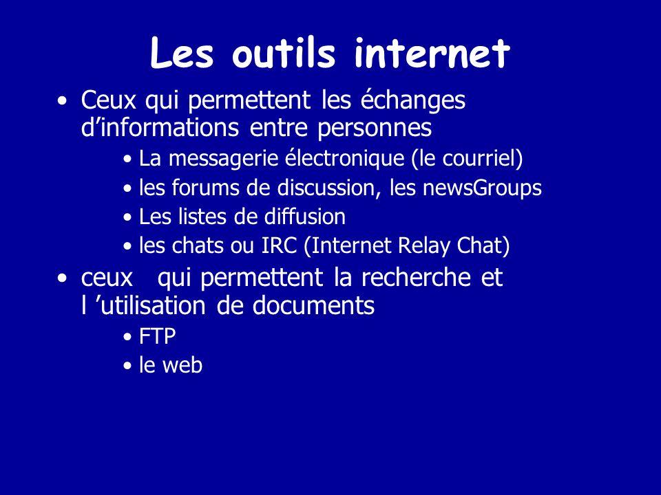 Les outils internet Ceux qui permettent les échanges d'informations entre personnes. La messagerie électronique (le courriel)