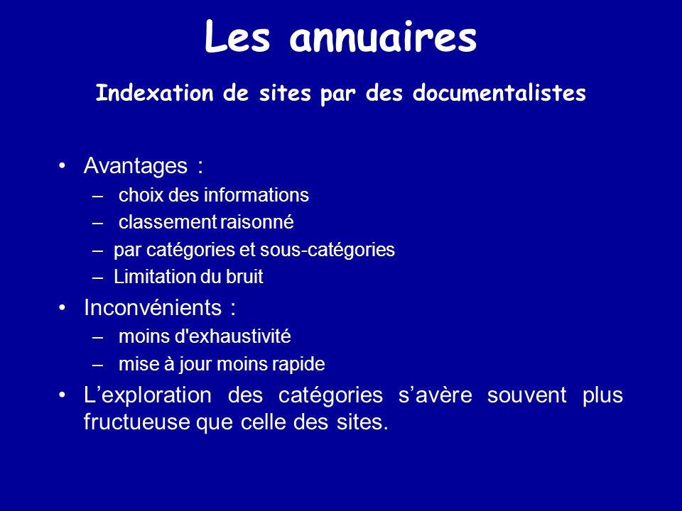 Les annuaires Indexation de sites par des documentalistes