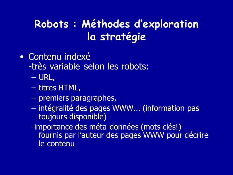 Robots : Méthodes d'exploration la stratégie