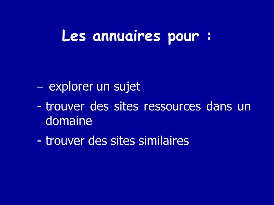 Les annuaires pour : trouver des sites ressources dans un domaine
