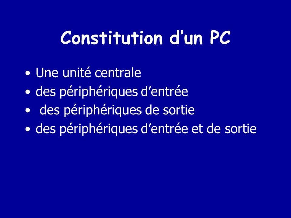 Constitution d'un PC Une unité centrale des périphériques d'entrée