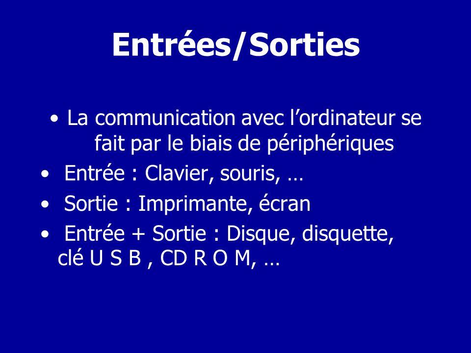 Entrées/Sorties • La communication avec l'ordinateur se fait par le biais de périphériques. Entrée : Clavier, souris, …