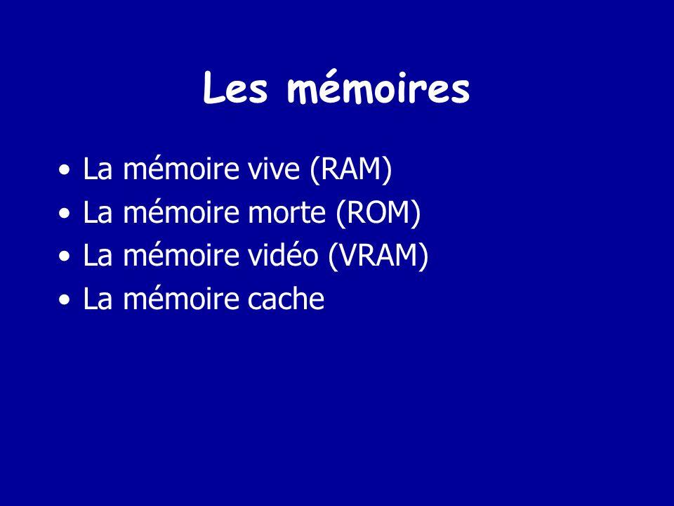Les mémoires La mémoire vive (RAM) La mémoire morte (ROM)