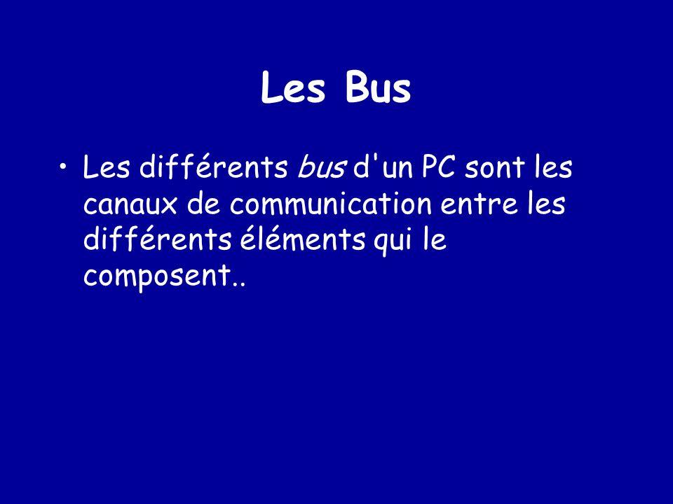 Les Bus Les différents bus d un PC sont les canaux de communication entre les différents éléments qui le composent..