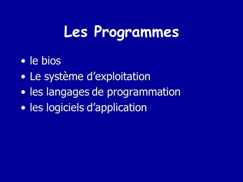 Les Programmes le bios Le système d'exploitation