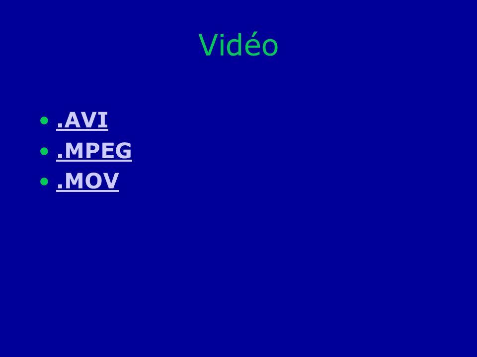 Vidéo .AVI .MPEG .MOV