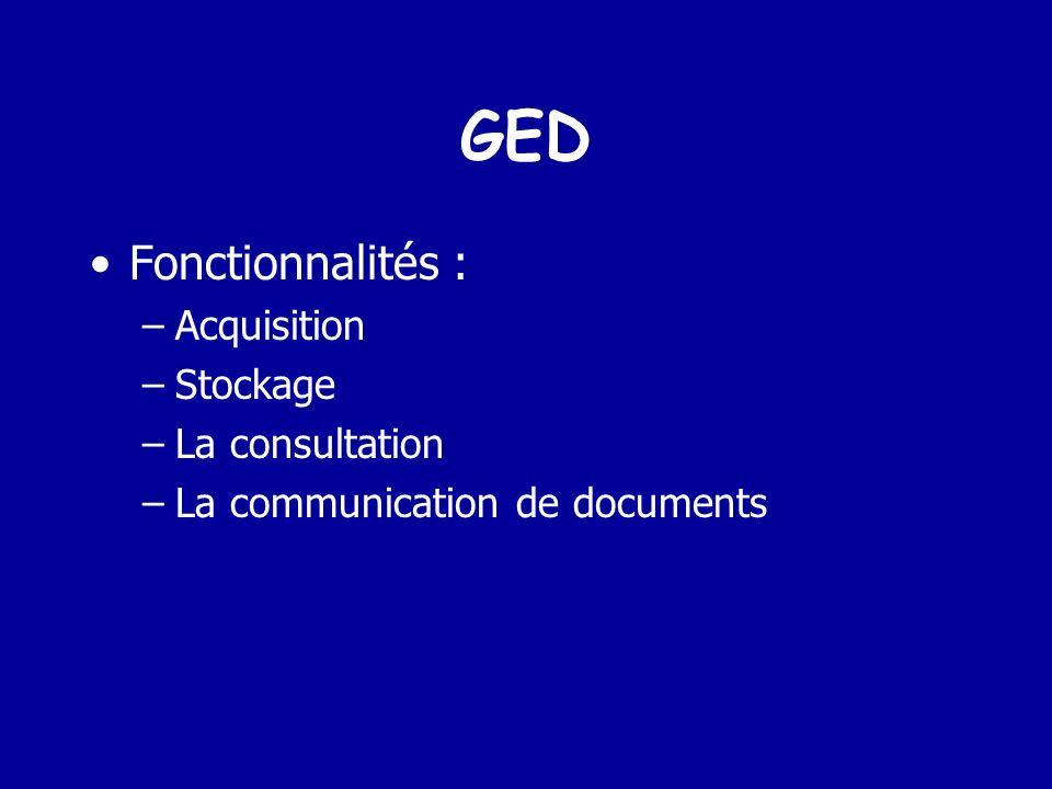 GED Fonctionnalités : Acquisition Stockage La consultation