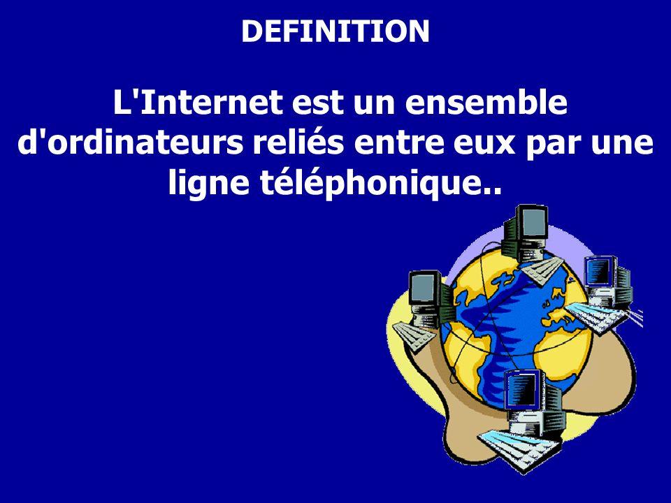 DEFINITION L Internet est un ensemble d ordinateurs reliés entre eux par une ligne téléphonique..