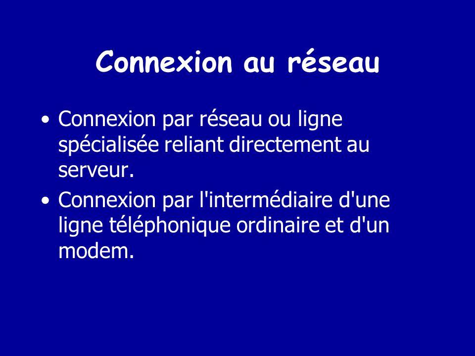 Connexion au réseau Connexion par réseau ou ligne spécialisée reliant directement au serveur.
