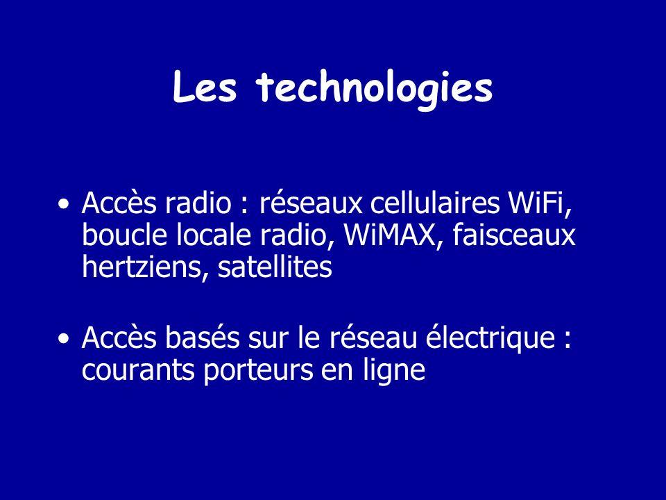 Les technologies Accès radio : réseaux cellulaires WiFi, boucle locale radio, WiMAX, faisceaux hertziens, satellites.