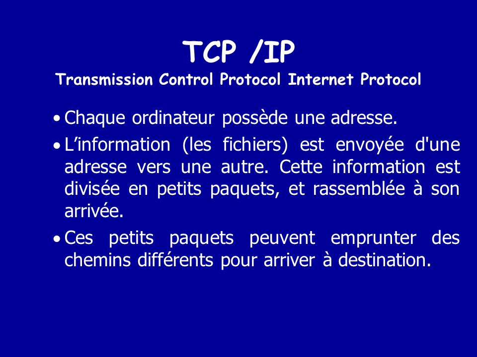 TCP /IP Transmission Control Protocol Internet Protocol