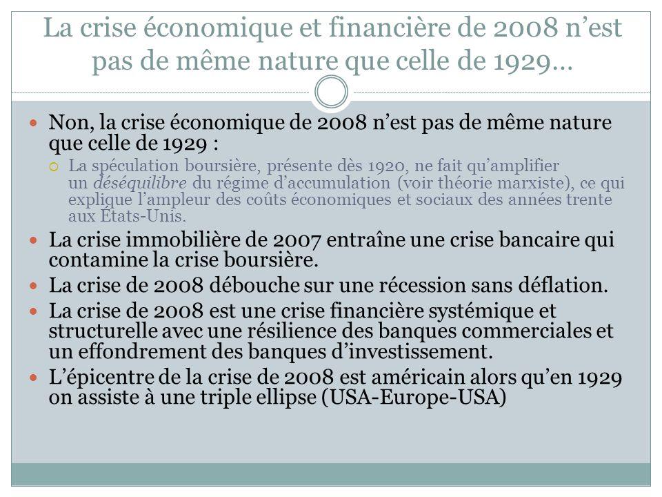 La crise économique et financière de 2008 n'est pas de même nature que celle de 1929…