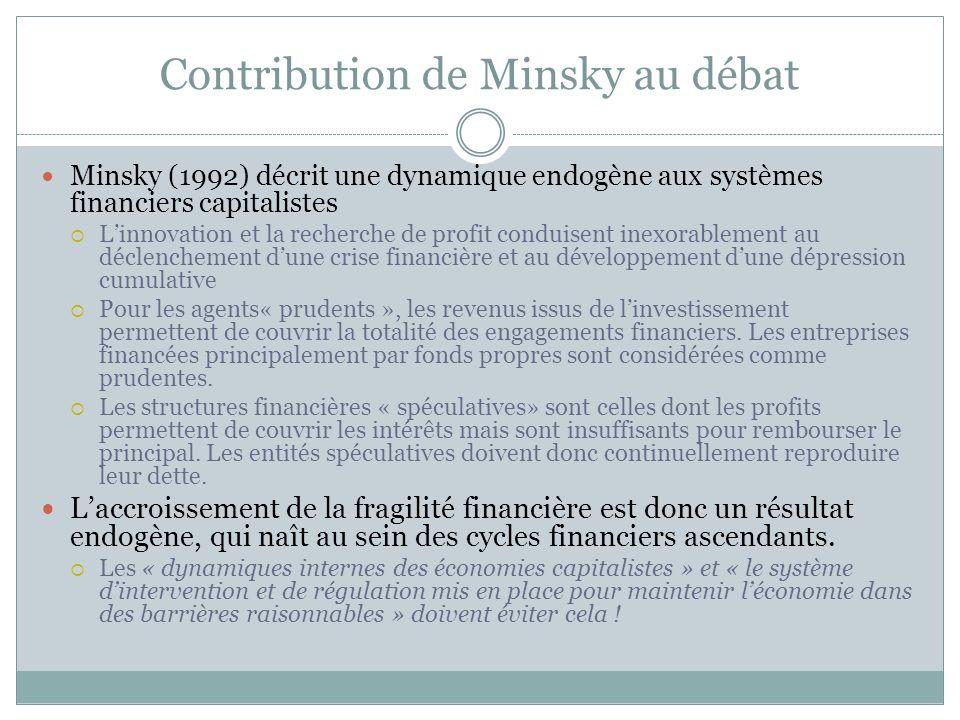 Contribution de Minsky au débat