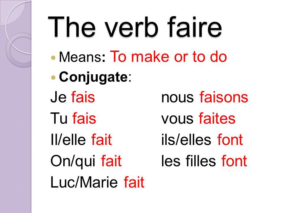 The verb faire Je fais nous faisons Tu fais vous faites