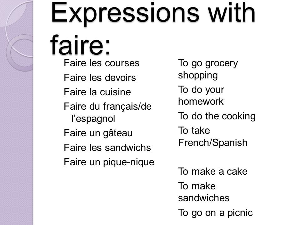 Expressions with faire: