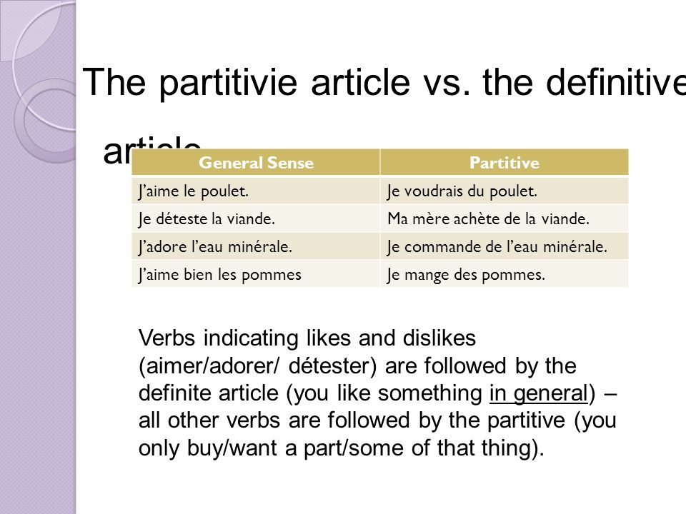 The partitivie article vs. the definitive article