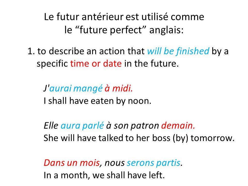 Le futur antérieur est utilisé comme le future perfect anglais: