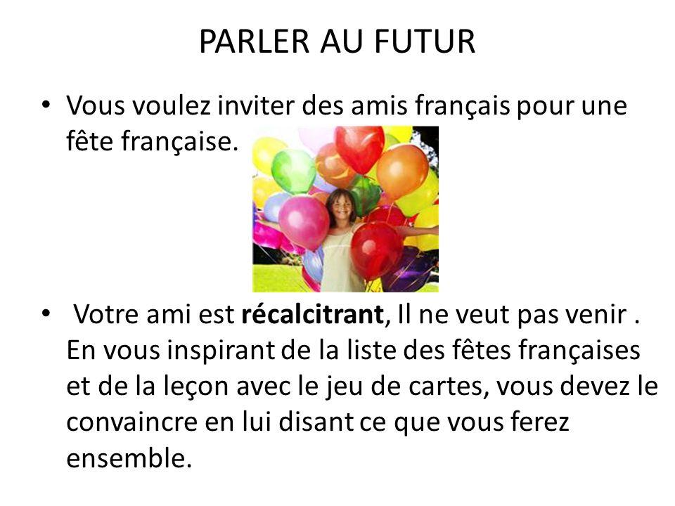 PARLER AU FUTUR Vous voulez inviter des amis français pour une fête française.