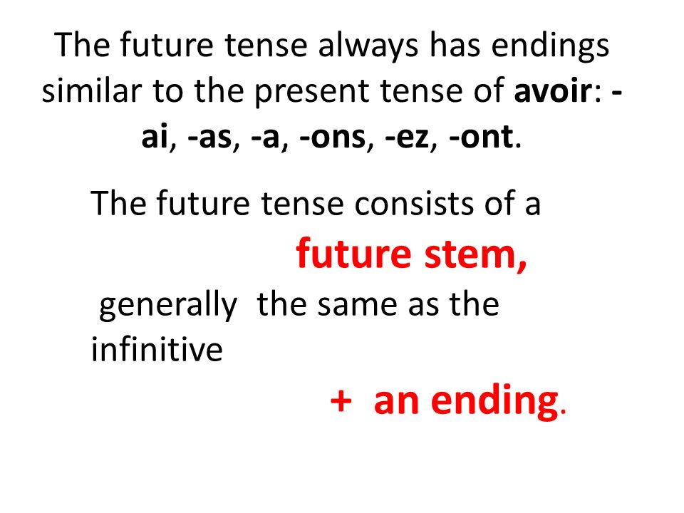The future tense consists of a future stem,