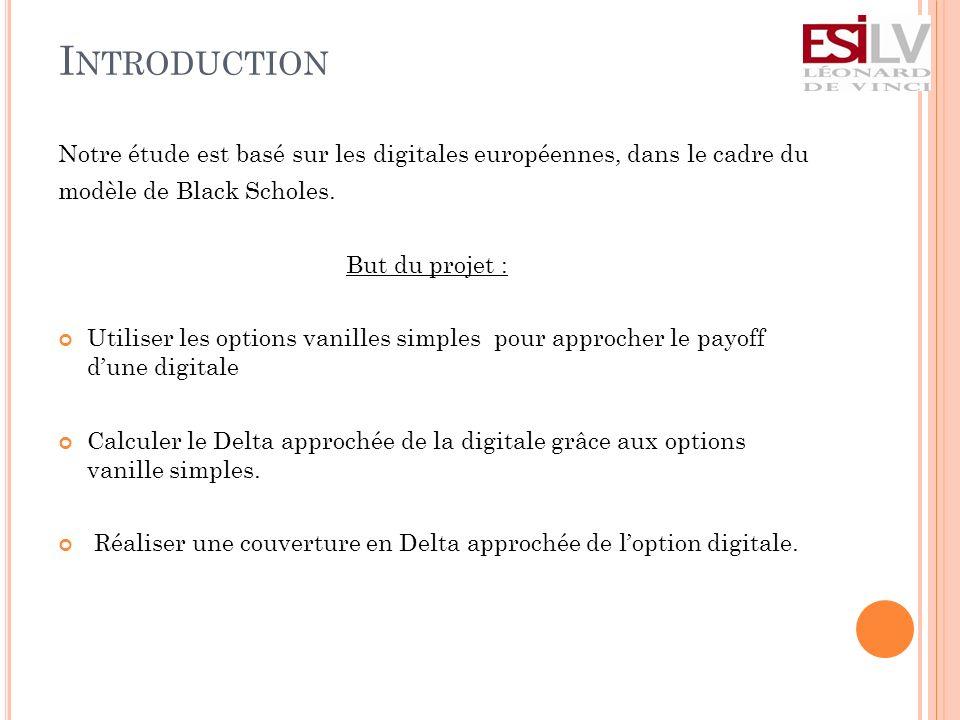Introduction Notre étude est basé sur les digitales européennes, dans le cadre du. modèle de Black Scholes.