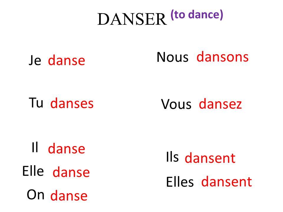 DANSER Nous Je danse dansons Tu Vous danses dansez Il danse Ils