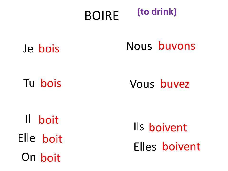 BOIRE Nous Je bois buvons Tu Vous bois buvez Il boit Ils boivent Elle