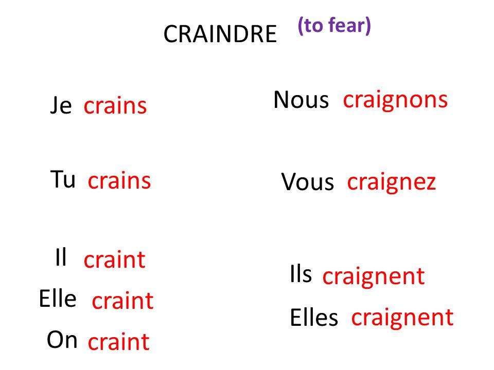 CRAINDRE Nous Je crains craignons Tu Vous crains craignez Il craint