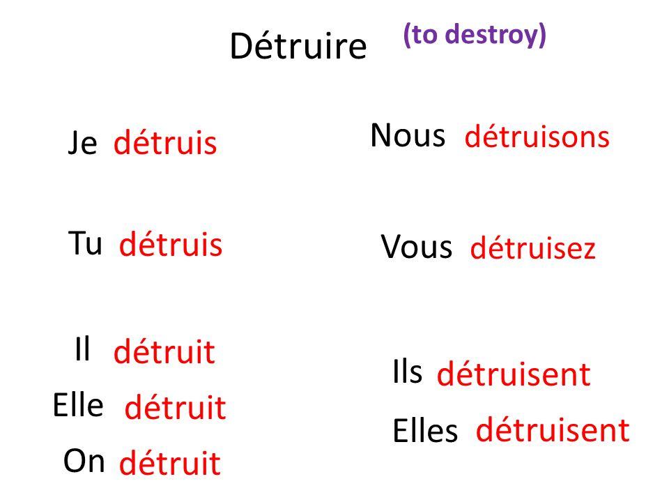 Détruire Nous Je détruis Tu Vous détruis Il détruit Ils détruisent