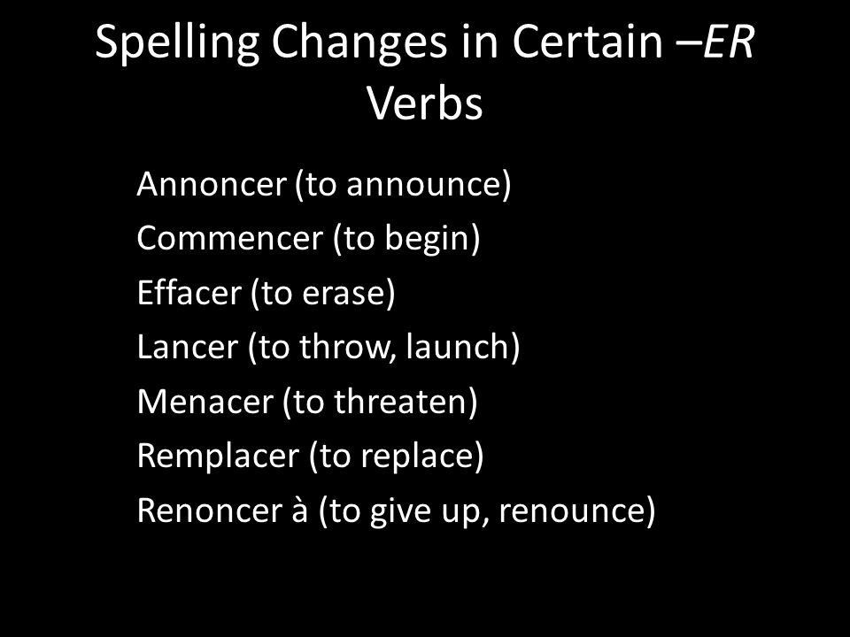 Spelling Changes in Certain –ER Verbs