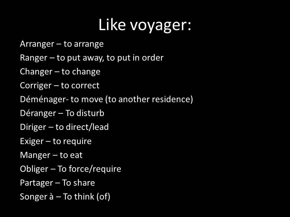 Like voyager: Arranger – to arrange
