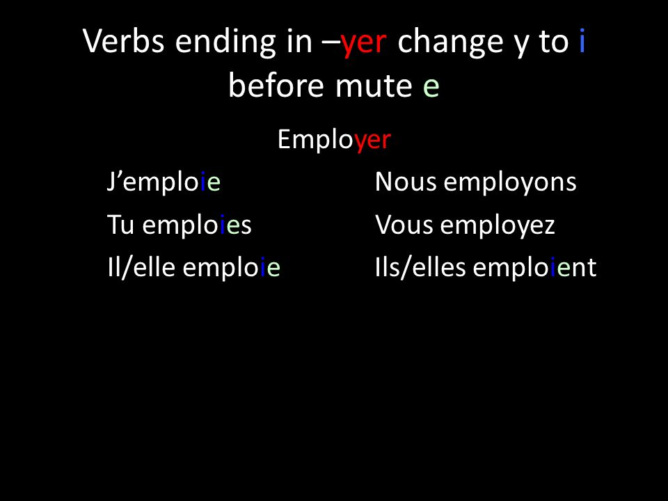 Verbs ending in –yer change y to i before mute e