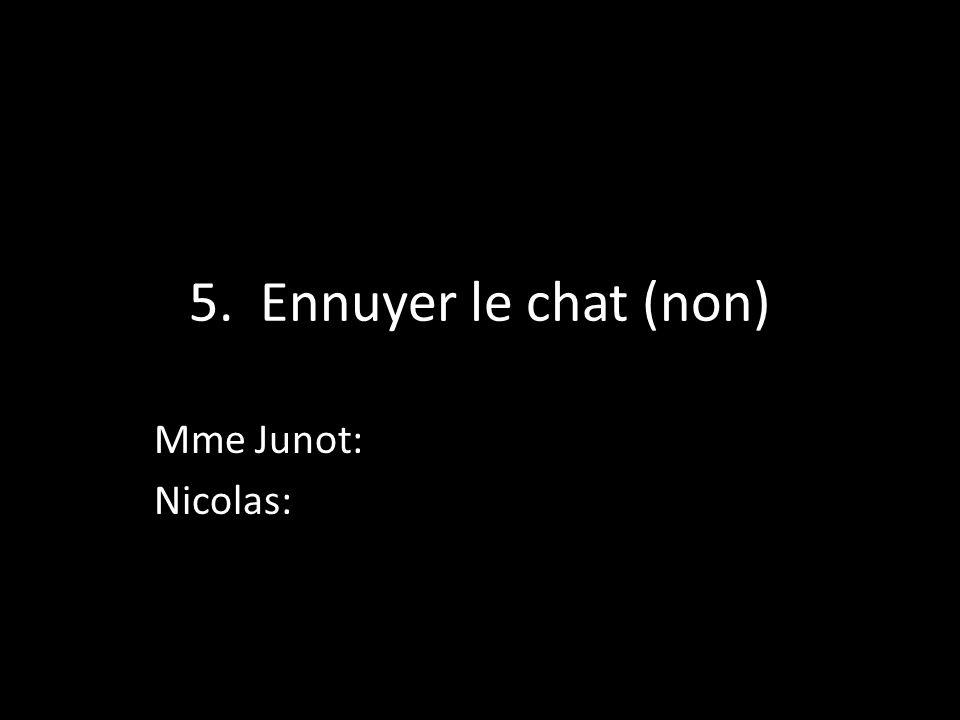 5. Ennuyer le chat (non) Mme Junot: Nicolas: