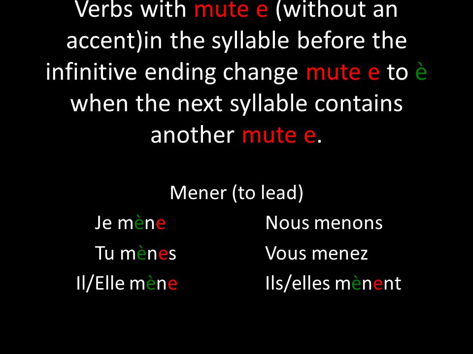 Verbs with mute e (without an accent)in the syllable before the infinitive ending change mute e to è when the next syllable contains another mute e.