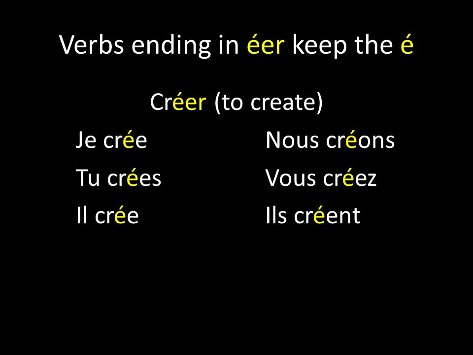 Verbs ending in éer keep the é
