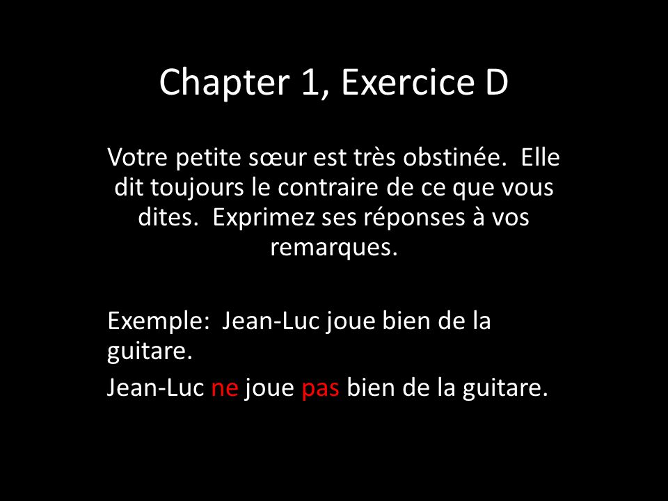 Chapter 1, Exercice D