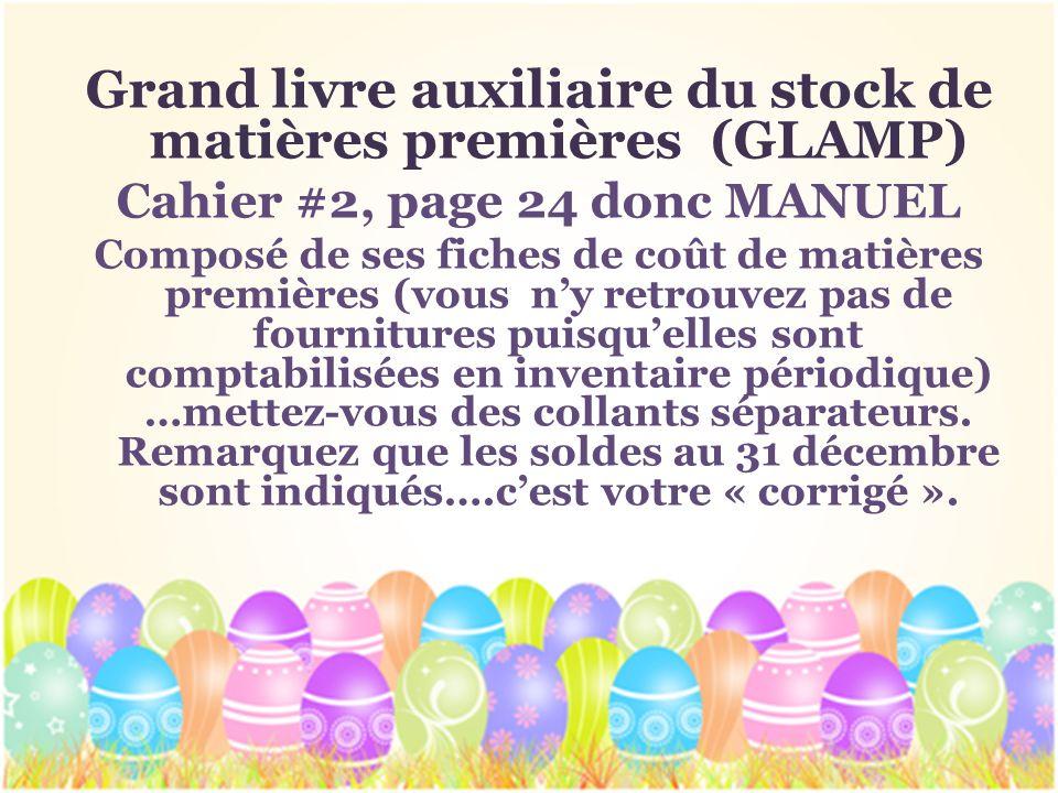 Grand livre auxiliaire du stock de matières premières (GLAMP)