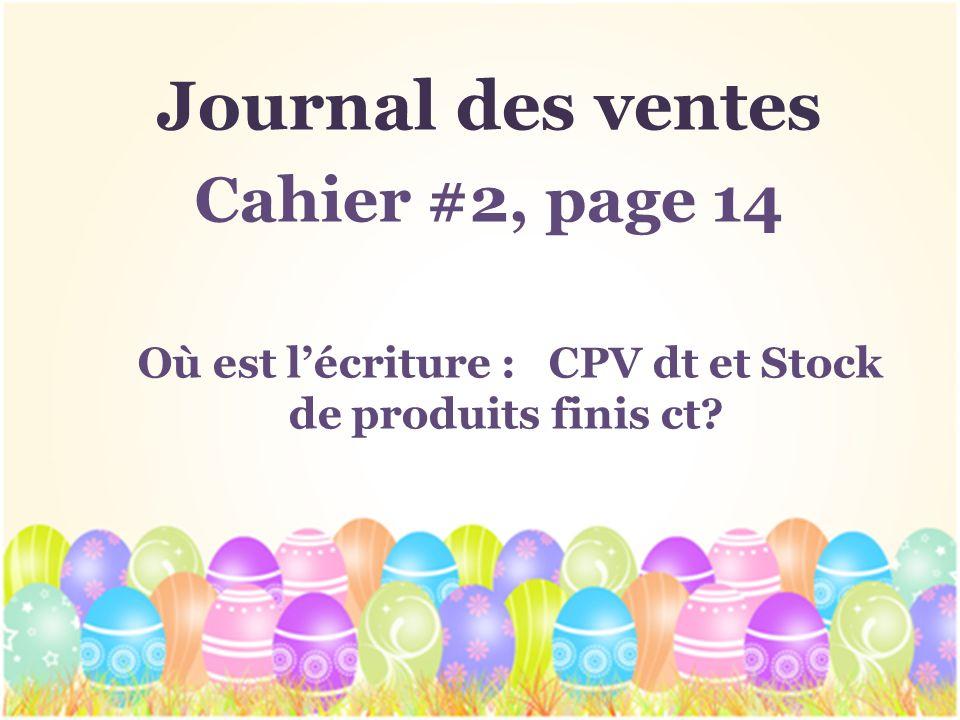 Où est l'écriture : CPV dt et Stock de produits finis ct
