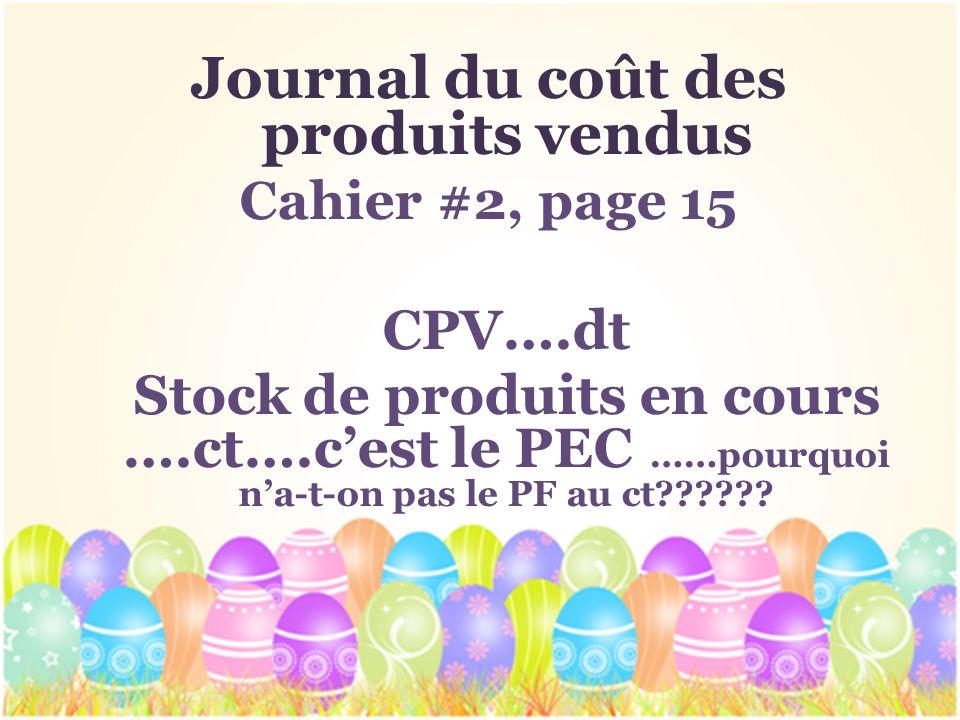 Journal du coût des produits vendus