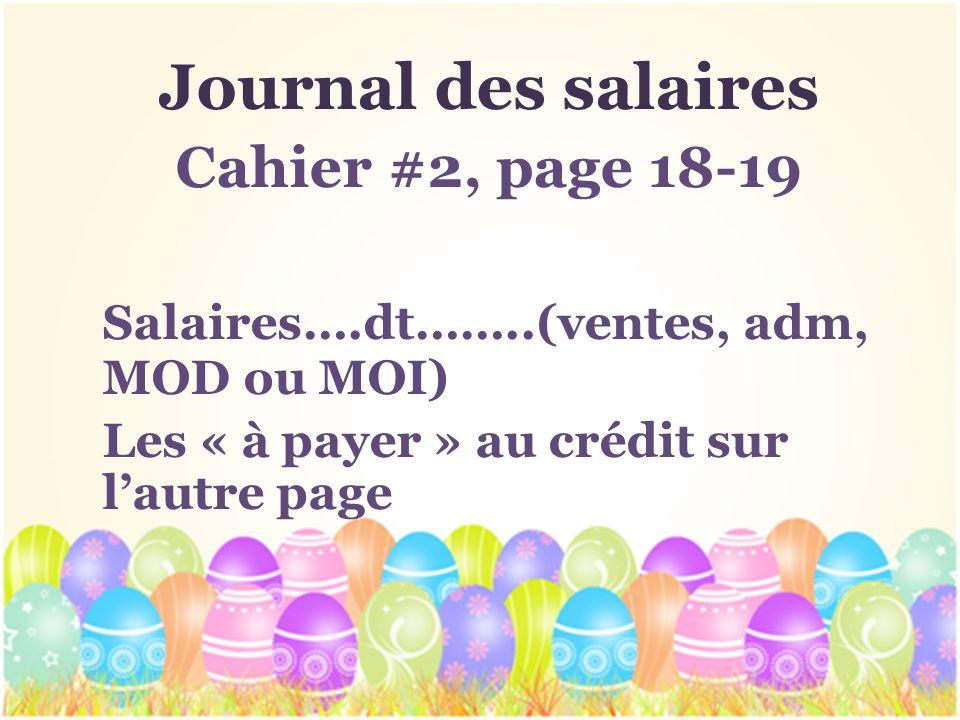 Journal des salaires Salaires….dt……..(ventes, adm, MOD ou MOI)