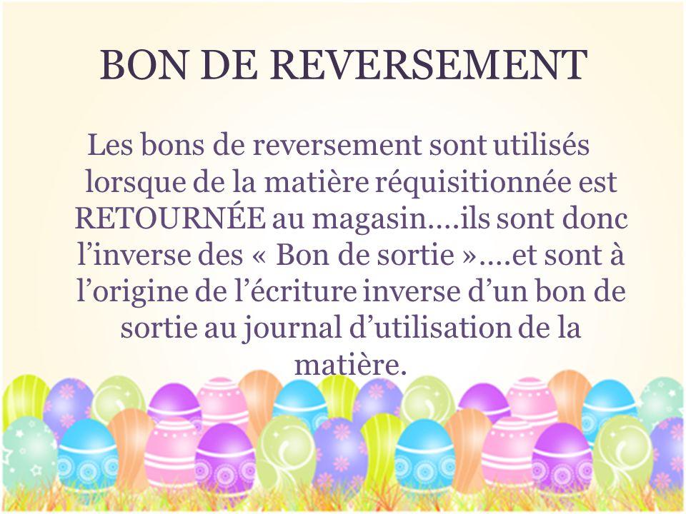 BON DE REVERSEMENT