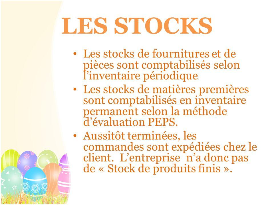 LES STOCKS Les stocks de fournitures et de pièces sont comptabilisés selon l'inventaire périodique.
