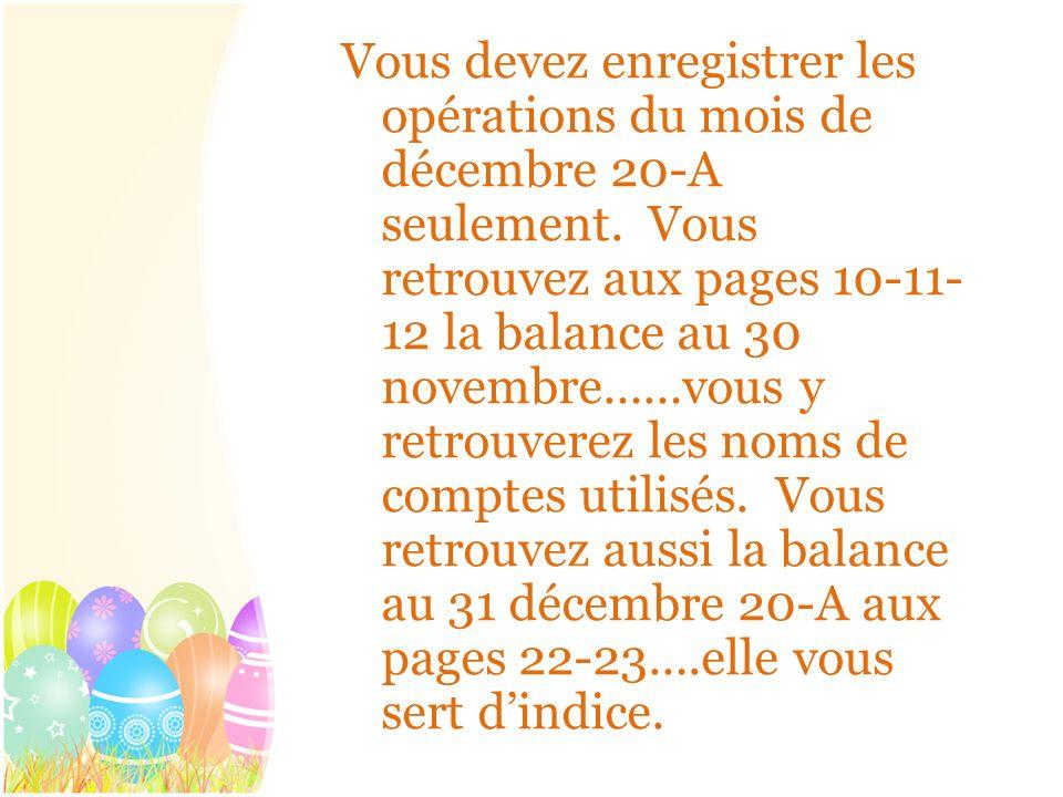 Vous devez enregistrer les opérations du mois de décembre 20-A seulement.