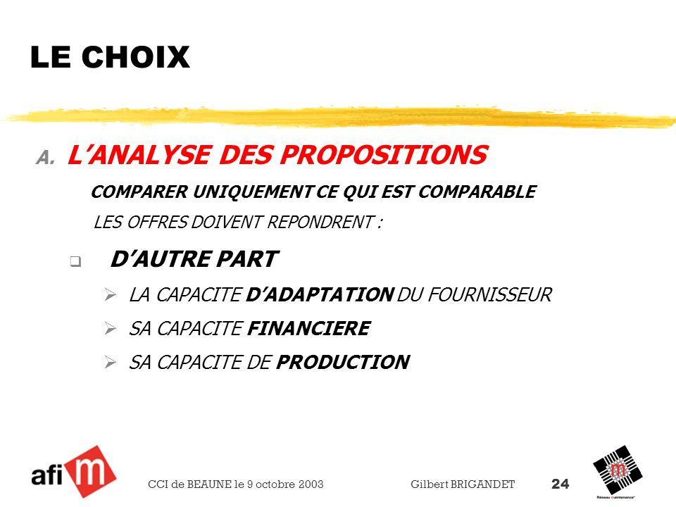LE CHOIX L'ANALYSE DES PROPOSITIONS