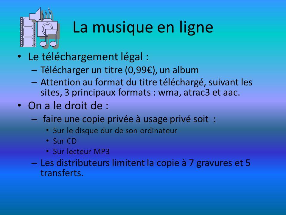 La musique en ligne Le téléchargement légal : On a le droit de :