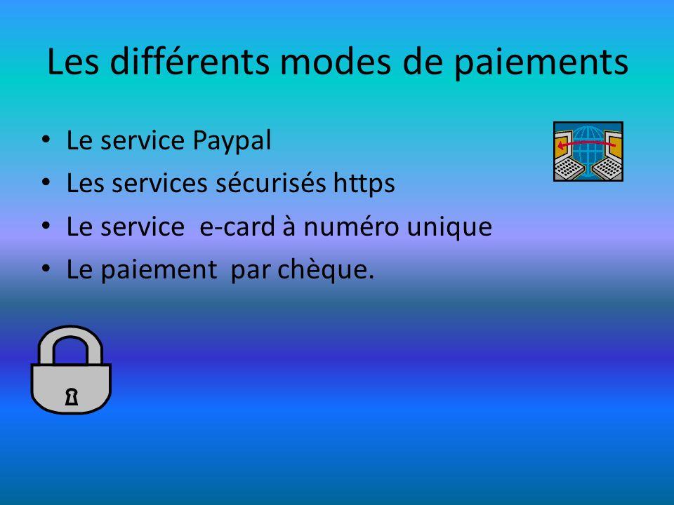 Les différents modes de paiements